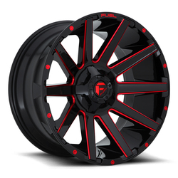 Fuel Wheels Contra D643 - Gloss Black with Candy Red Rim - 22x10