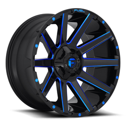Fuel Wheels Contra D644 - Gloss Black with Candy Blue Rim - 22x10