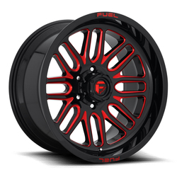 Fuel Wheels Ignite D663 - Gloss Black with Candy Red Rim - 22x10