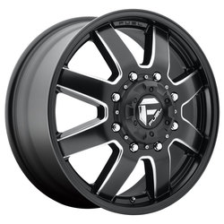 Fuel Wheels Maverick Dually Front D538 - Black & Milled Rim - 22x8.25