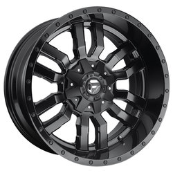 Fuel Wheels Sledge D596 - Matte Black with Gloss Black Lip - 22x12