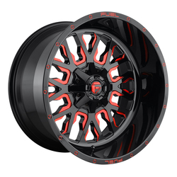 Fuel Wheels Stroke D612 - Gloss Black with Candy Red - 22x12