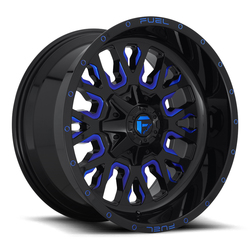 Fuel Wheels Stroke D645 - Gloss Black with Candy Blue - 22x12