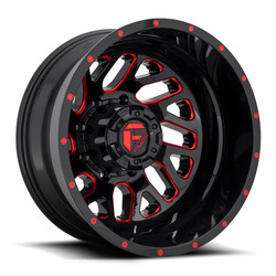 Fuel Wheels Triton Dually Rear D656 - Gloss Black w/ Candy Red