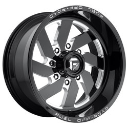 Fuel Wheels Turbo 8 D582 - Black & Milled Rim - 20x12