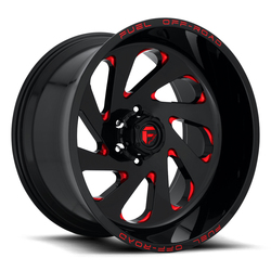 Fuel Wheels Vortex D638 - Gloss Black with Candy Red Rim - 20x12