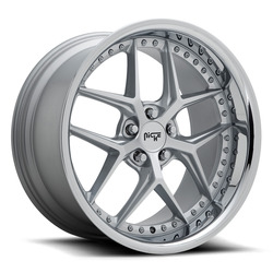Niche Wheels Vice M225 - Matte Silver / Chrome Lip Rim