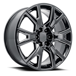 Topline Replica Wheels V1194 2020 Silverado Y Spoke - Gloss Black Milled Rim - 26x10