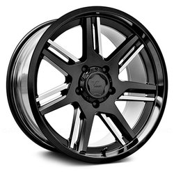 V-Rock Wheels VR12 Throne - Satin Black/Milled Spokes - 22x12