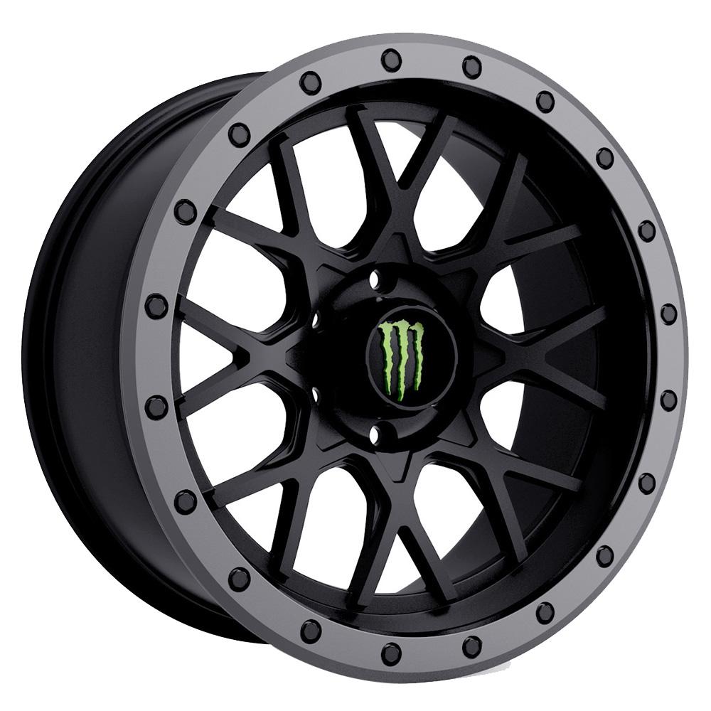 Dropstars Wheels 649BA - Satin Black with Anthracite Grey Beadlock-Style Lip Rim