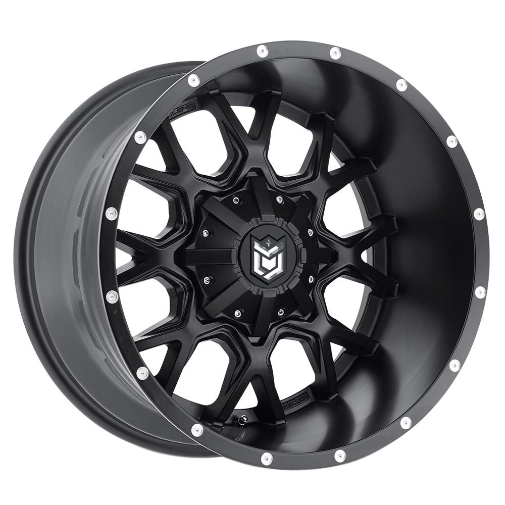 Dropstars Wheels 645B - Satin Blk w/CNC Milled Lip Accents