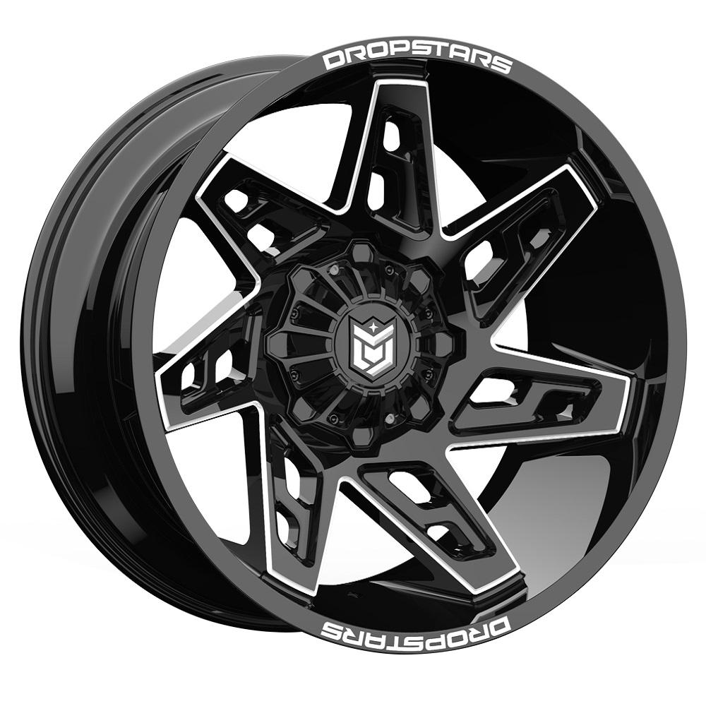 Dropstars Wheels 653BM - Gloss Black w/ CNC Milled Accents Rim