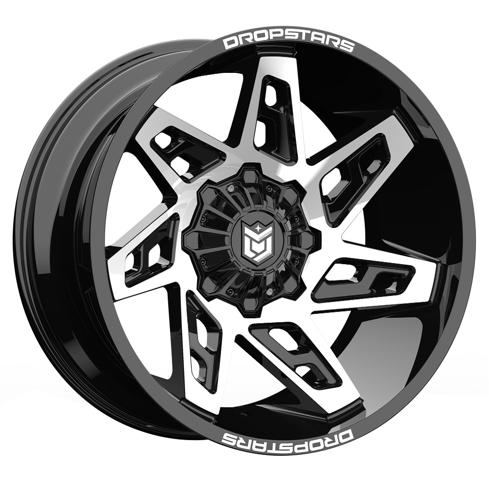 Dropstars Wheels 653MB - Gloss Black w/ Mirror Machined Face