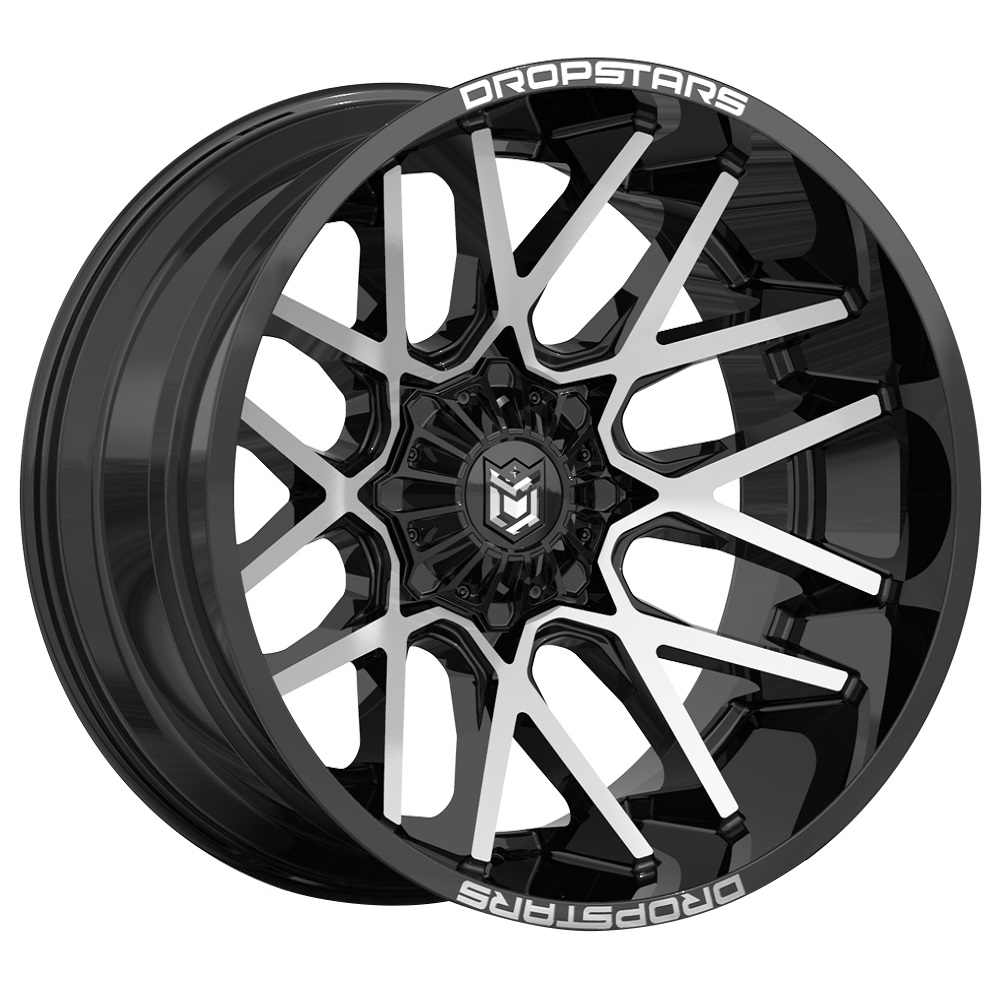 Dropstars Wheels 654MB - Gloss Black w/ Mirror Machined Face