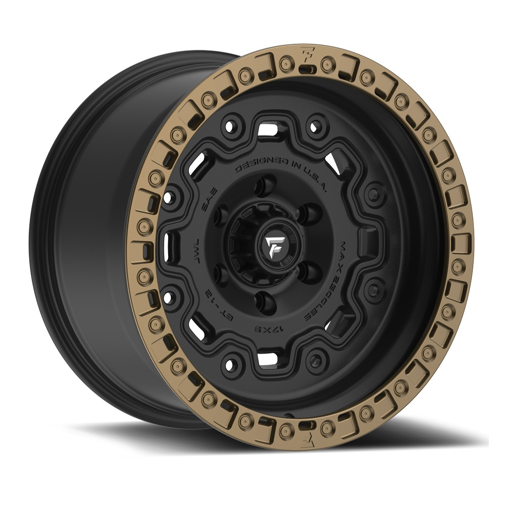 Fittipaldi Wheels FTC16 - Satin Black with Textured Bronze Lip Rim