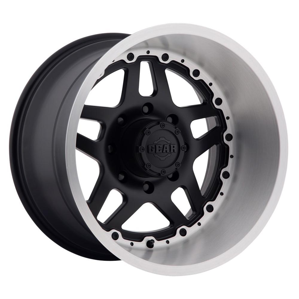Gear Offroad Wheels 744BB Drivetrain - Satin Black Center w/ Gloss Brushed Lip Rim