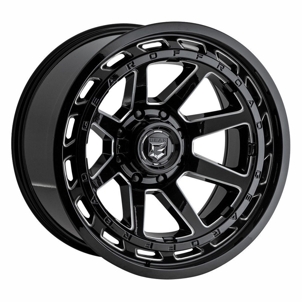 Gear Offroad Wheels 754BM - Gloss Black w/Milled Accents Rim