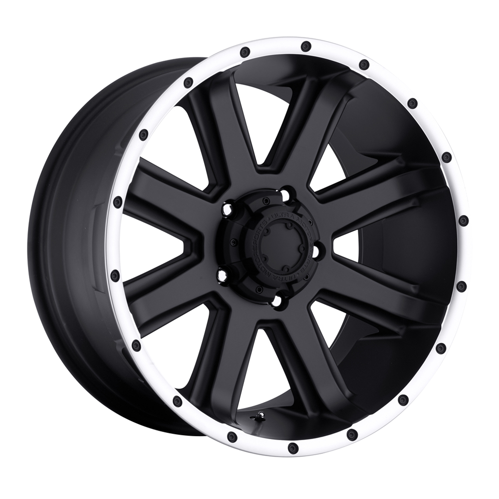 Ultra Wheels 195 Crusher - Satin Black with Diamond Cut Lip and Satin Clear Coat Rim
