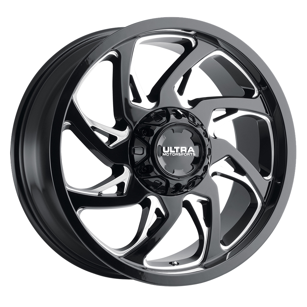 Ultra Wheels 230 Villain - Gloss Black with Milled Accents and Clear Coat Rim