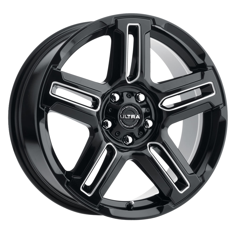 Ultra Wheels 258 Prowler CUV - Gloss Black with Milled Accents and Clear Coat Rim