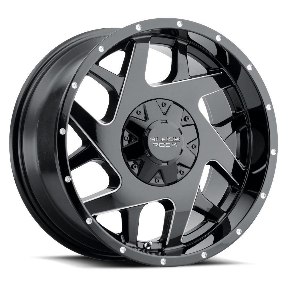 Black Rock Wheels Fury II 935B - Gloss Black with Milled Edges Rim