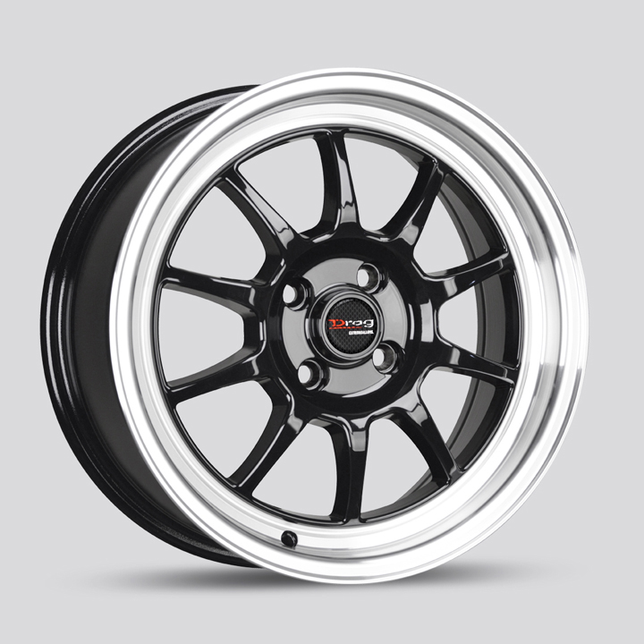 Drag Wheels DR16 - Gloss Black with Machined Lip Rim - 15x8.25