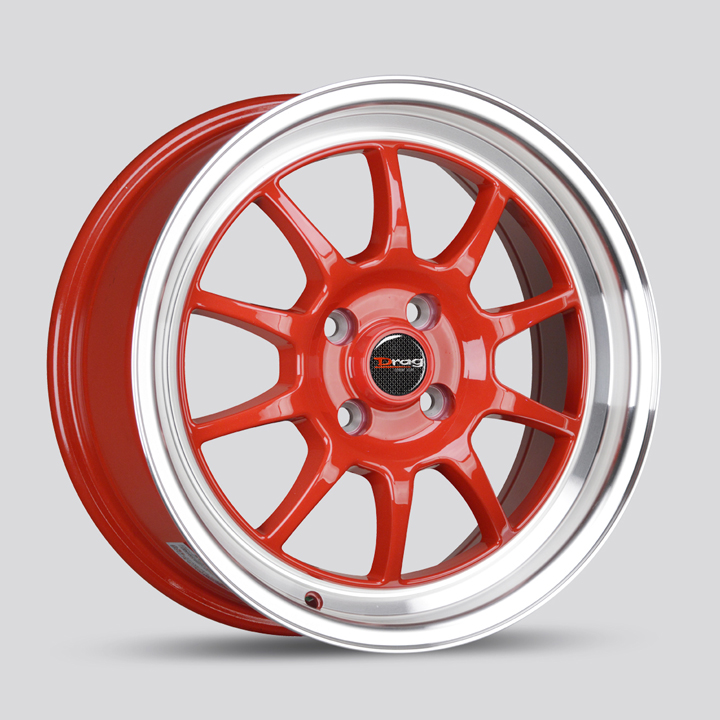 Drag Wheels DR16 - Red with Machined Lip Rim - 15x8.25