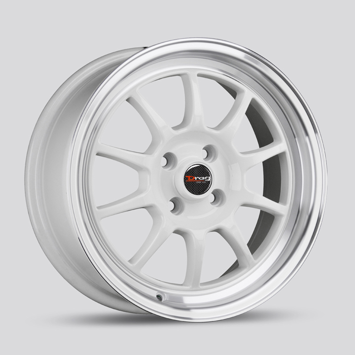Drag Wheels DR16 - White with Machined Lip Rim - 15x8.25