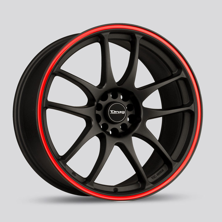 Drag Wheels DR31 - Flat Black with Red Stripe Rim