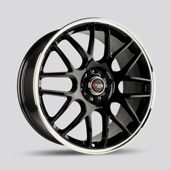 Drag Wheels DR34 - Gloss Black with Machined Lip Rim