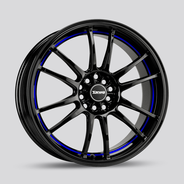Drag Wheels DR38 - Gloss Black with Blue Stripe