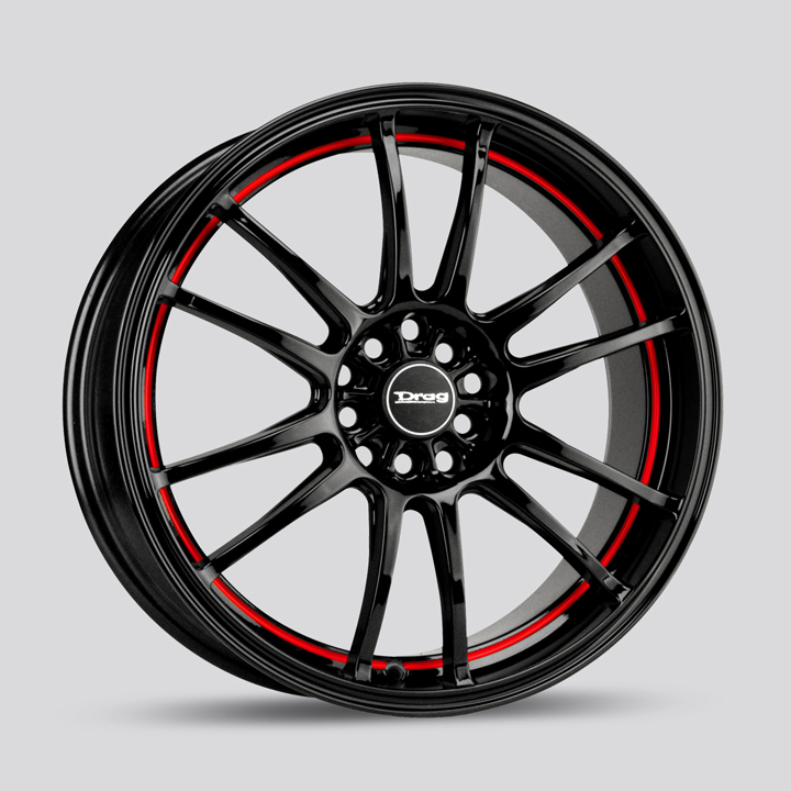 Drag Wheels DR38 - Gloss Black with Red Stripe