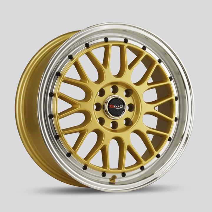 Drag Wheels DR44 - Gold with Machine Lip with Black Rivets Rim