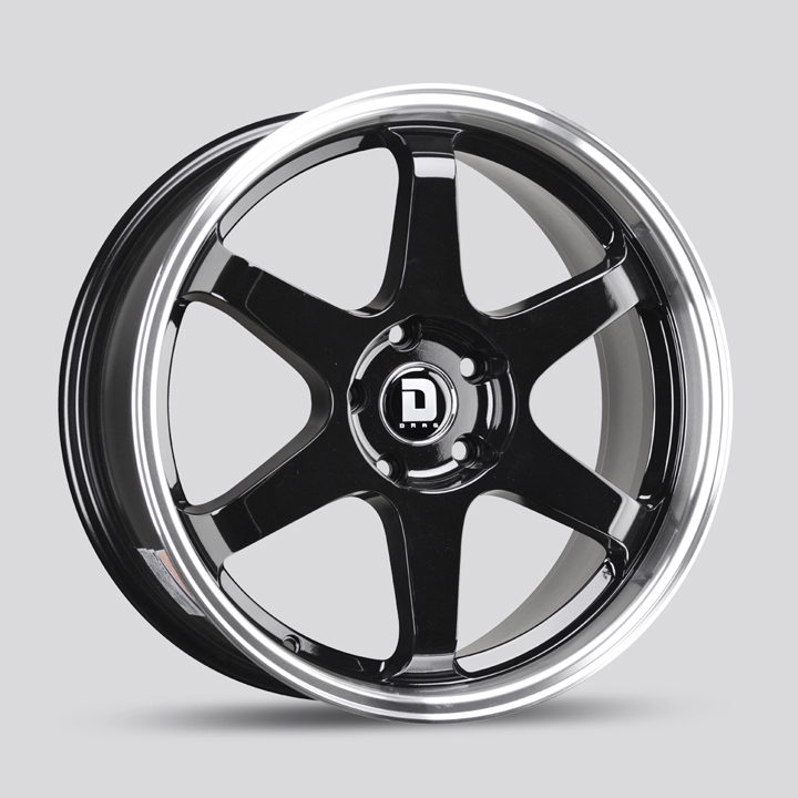 Drag Wheels DR53 - Gloss Black with Machined Lip