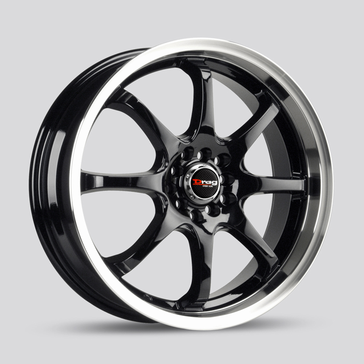 Drag Wheels DR55 - Gloss Black with Machined Lip