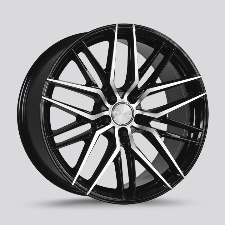 Drag Wheels DR77 - Gloss Black with Machined Face Rim