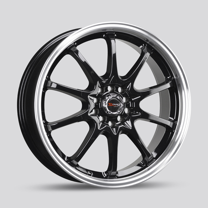Drag Wheels DR9 - Gloss Black with Machined Lip Rim