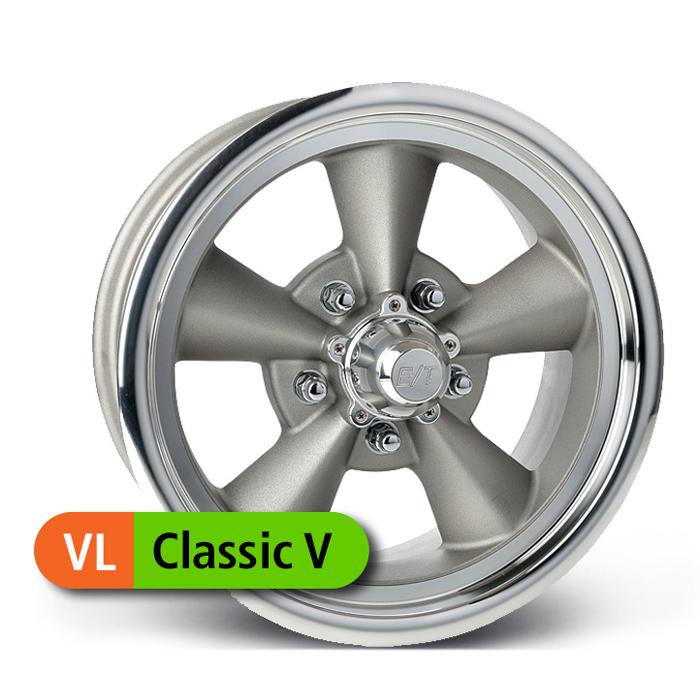 E-T Wheels Classic V Value - Painted Gray/Diamond Lip Rim