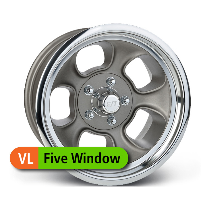 E-T Wheels Five Window Value - Painted Gray/Diamond Lip