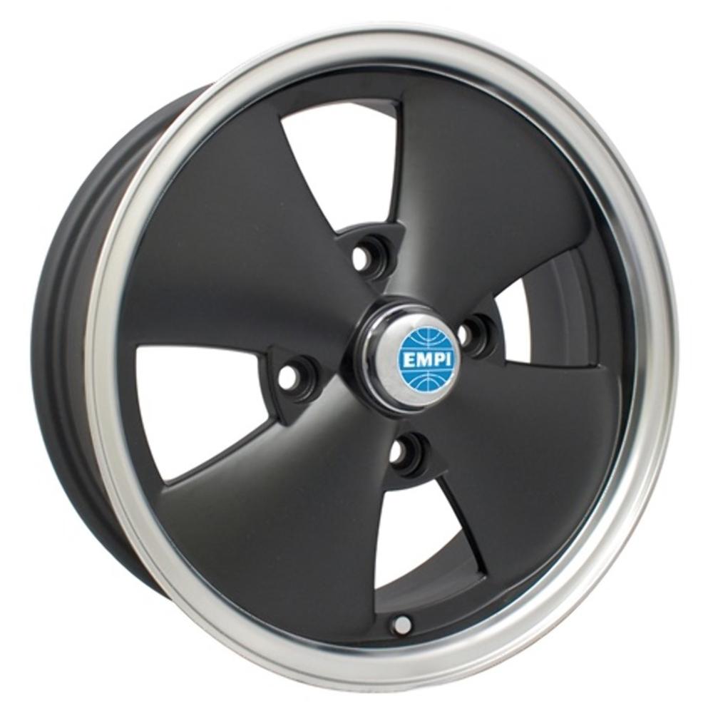 Empi Wheels 4 Spoke - Matte Black w/ Polished Lip Rim