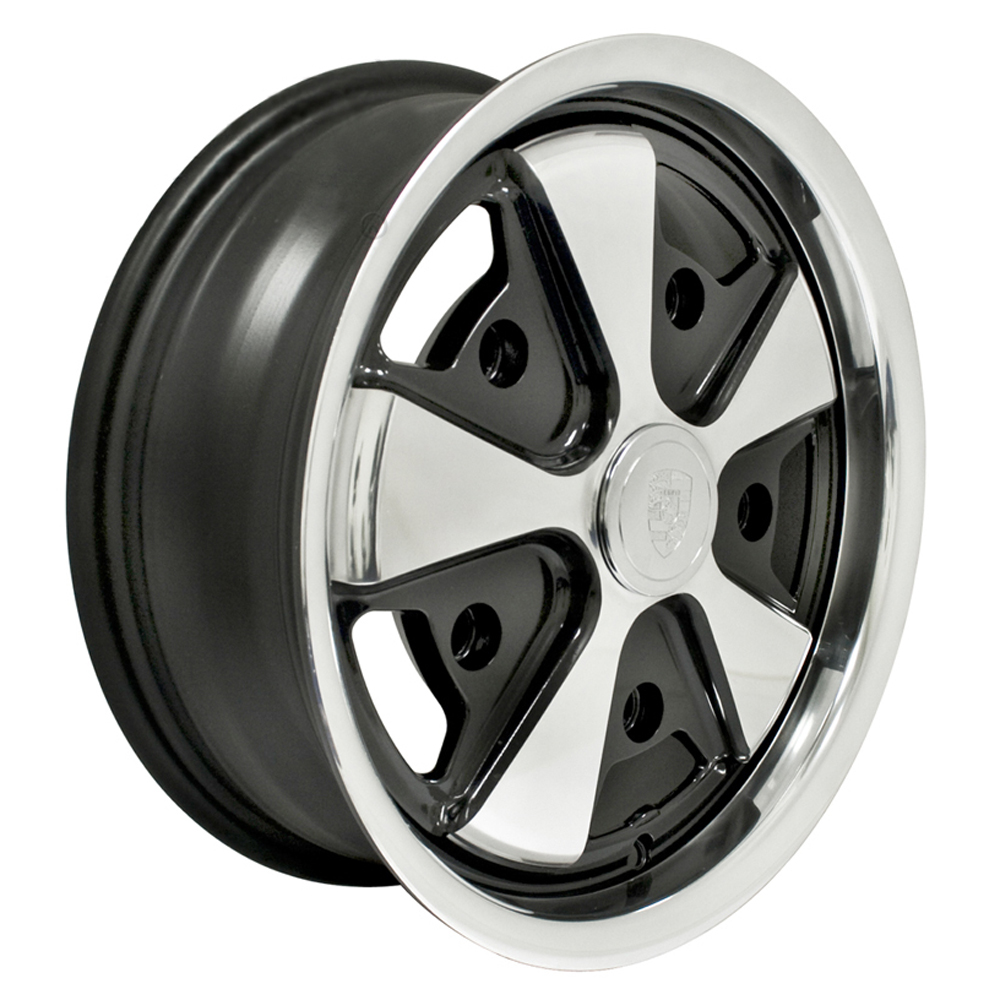 Empi Wheels 911 Alloy - Black w/ Polished Face Rim