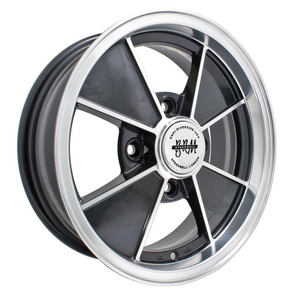 Empi Wheels VW BRM 4-Lug - Gloss Black w/Polished Lip and Spoke Edges Rim