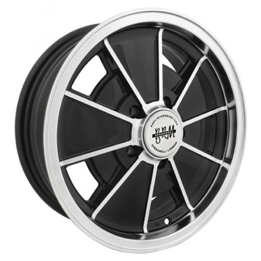 Empi Wheels VW BRM 5-Lug - Gloss Black w/Polished Lip and Edges Rim