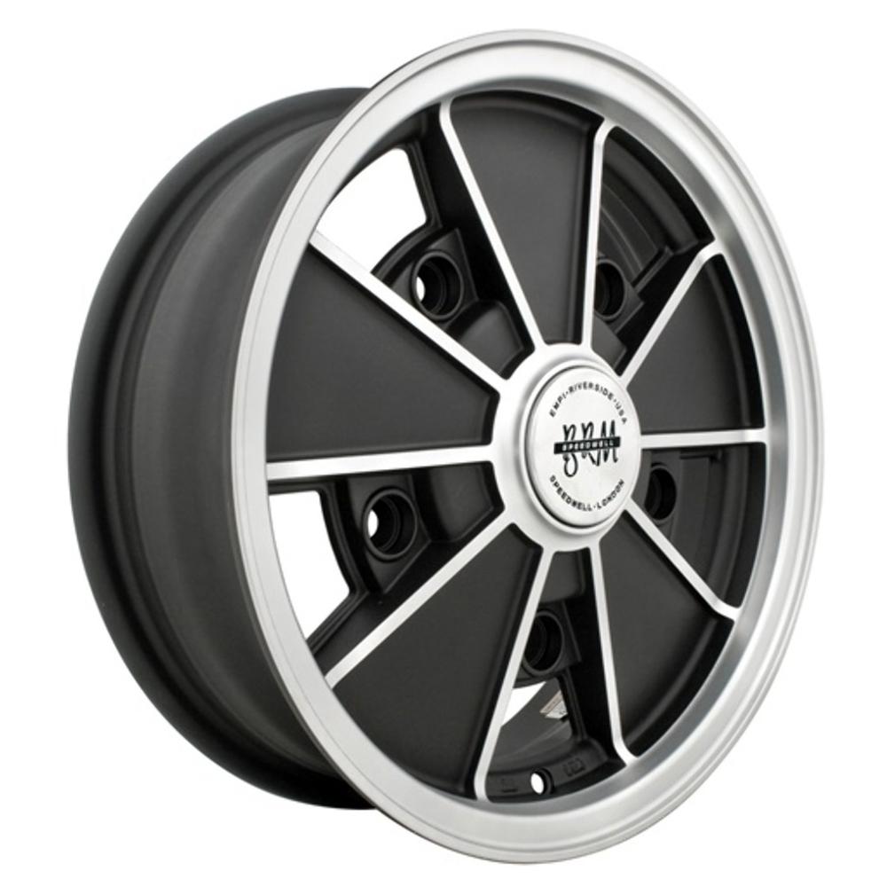 Empi Wheels VW BRM - Matte Black w/Matte Silver Lip and Spoke Edges Rim