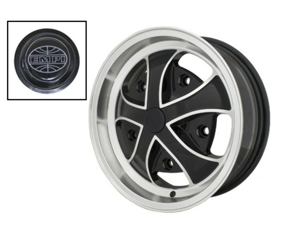 Empi Wheels Rebel - Gloss Black w/ Polished Lip & Ribs Rim