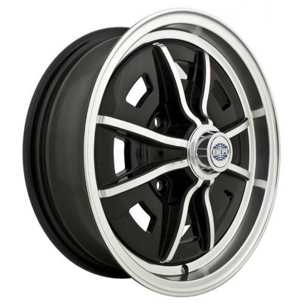 Empi Wheels Sprintstar 4-Lug - Gloss Black w/Polished Lip and Spokes Rim