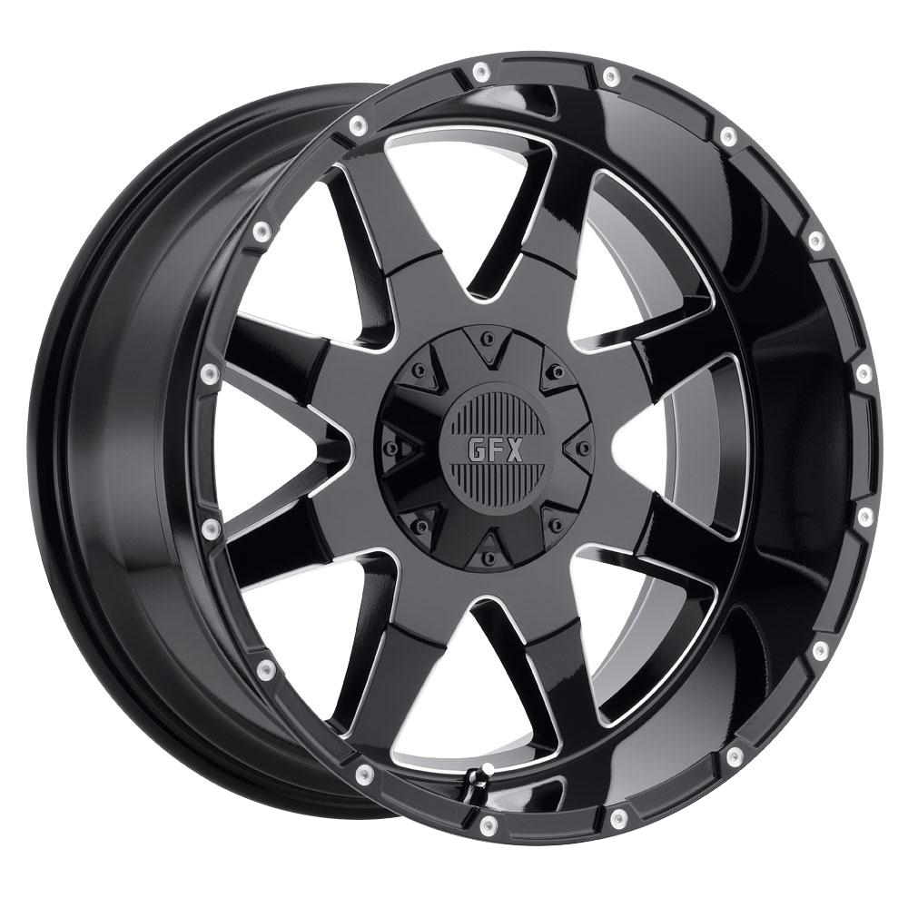 G-FX Wheels TR-12 - Gloss Black Milled Rim