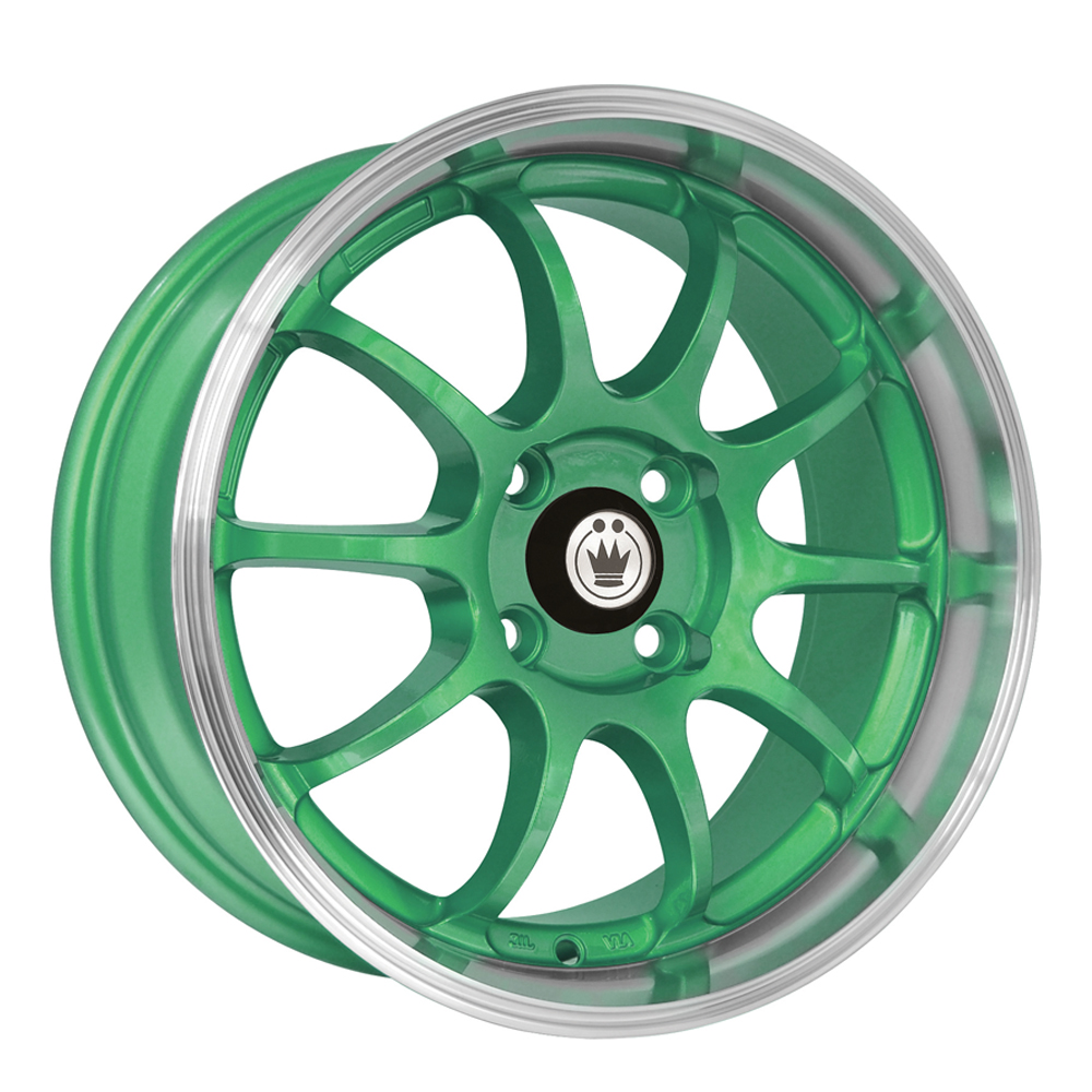 Konig Wheels Lightning - Green/Machine Lip Rim