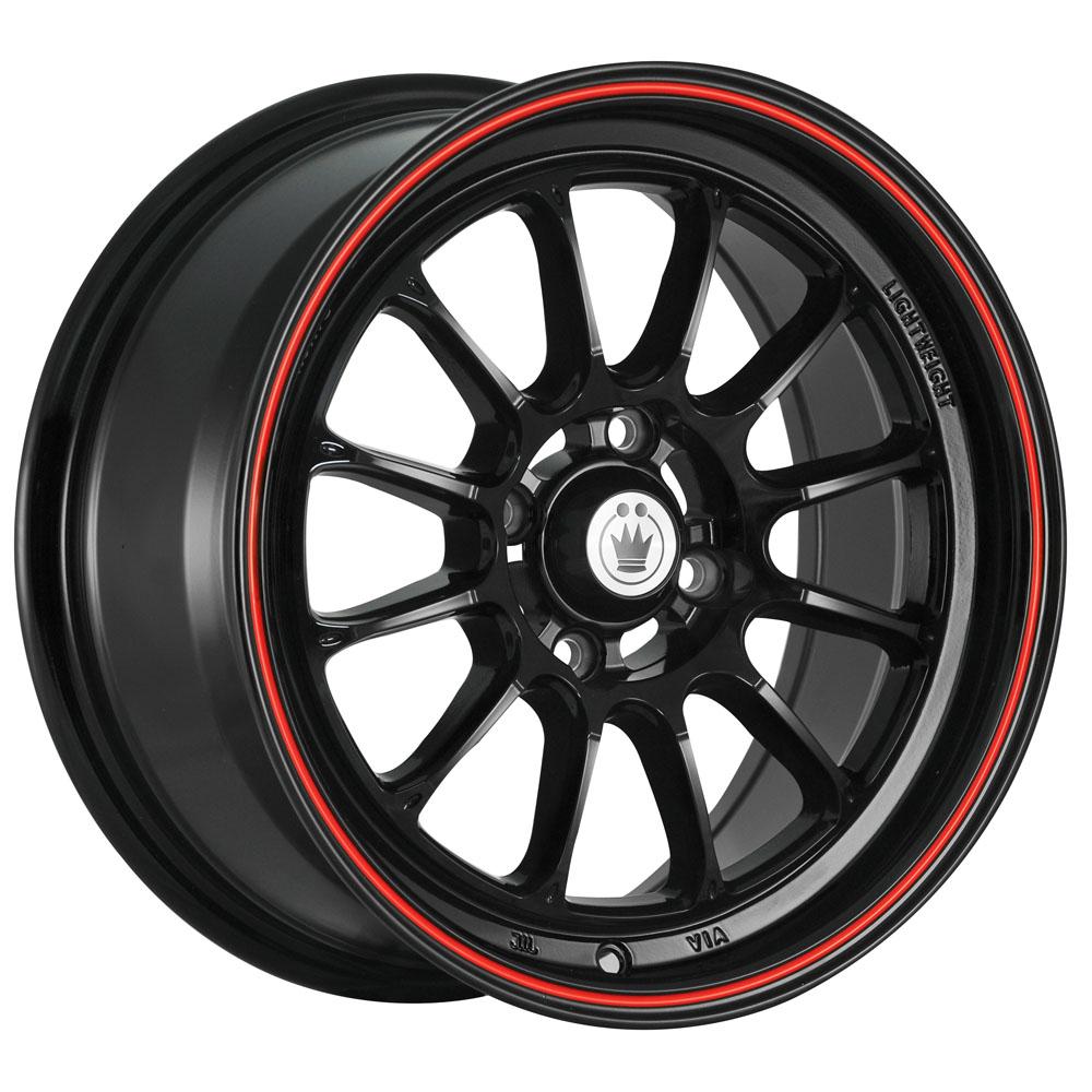 Konig Wheels Tweak'd - Gloss Black w/Red Stripe Rim