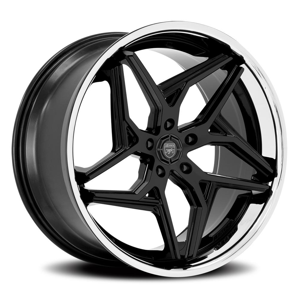 Lexani Wheels Spyder - Satin Black w/Gloss Black SS Lip Rim